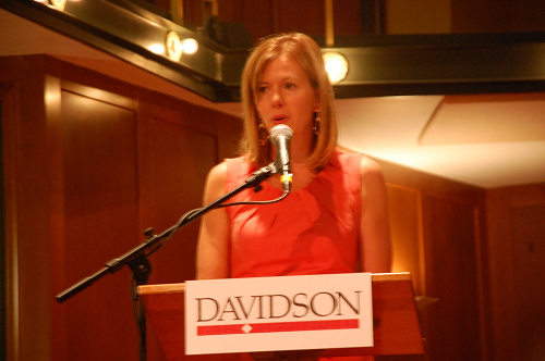 Angie speaking on behalf of IoH Co-Founder Kristen Milligan at an alumni event at Davidson College