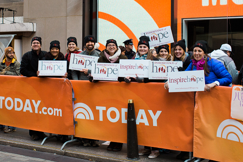 Angie with IoH staff and coordinators inspiring hope at the Today Show