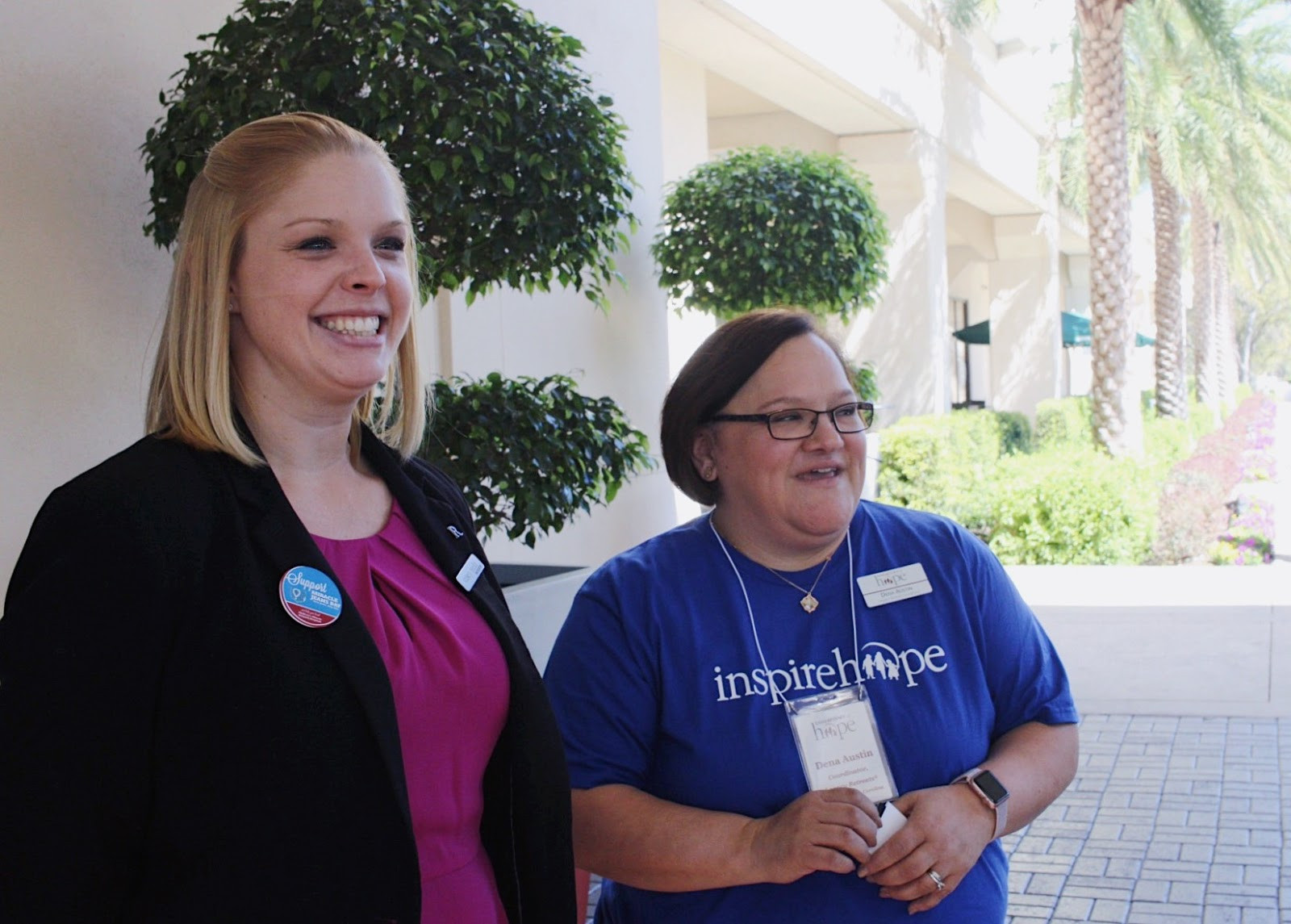 Dena greets new families alongside Renaissance Orlando staff.